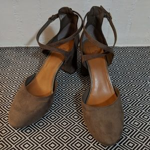 14th & Union Gray Suede Block Heels Size 8.5